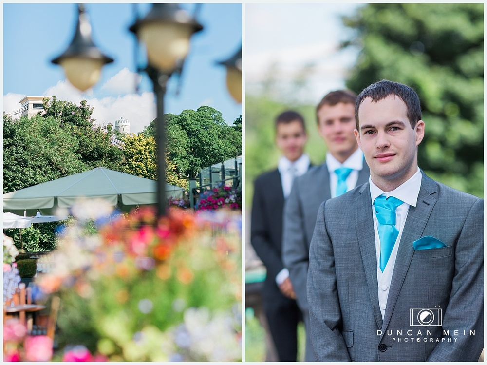 Weddings at Avon Gorge Hotel - Groomsmen Portrait by Suspension Bridge