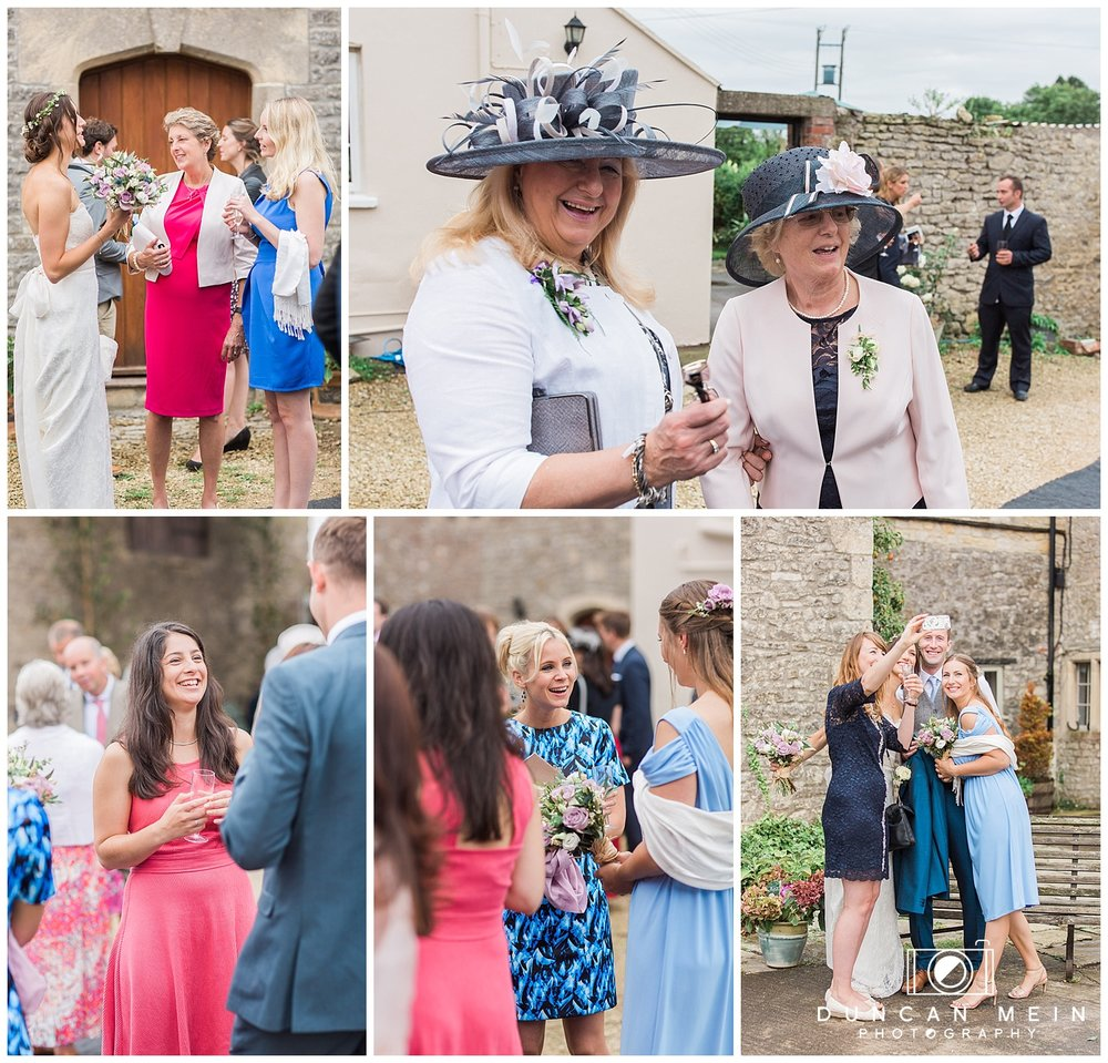 Rustic Barn Wedding in Somerset - Candid Guest Shots at the Champagne Reception