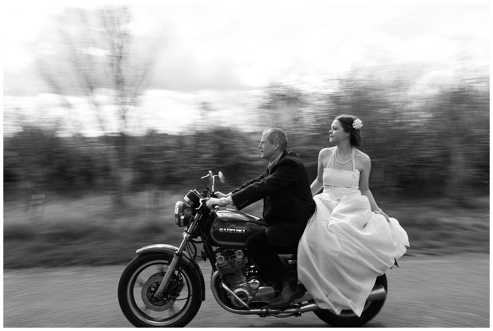 Motorbike Themed Engagement Shoot - Bride and Groom on Bike
