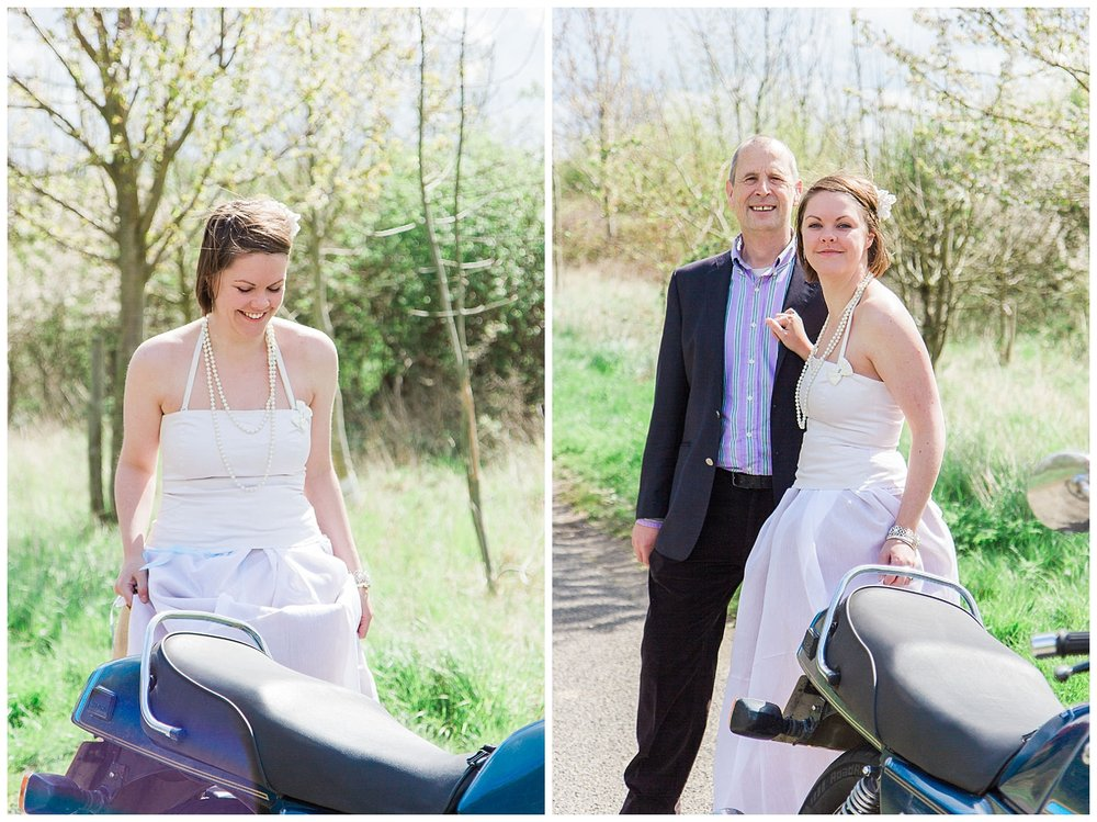 Motorbike Themed Engagement Shoot - Bride and Groom Portrait