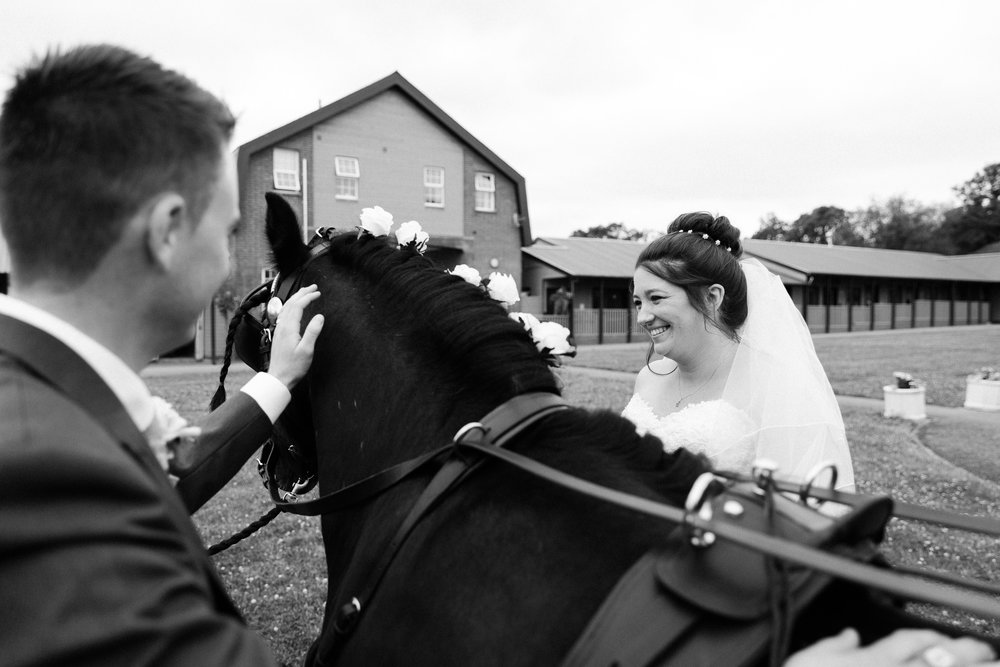 Wedding At Seftons Barn - Bride and Groom with Horses