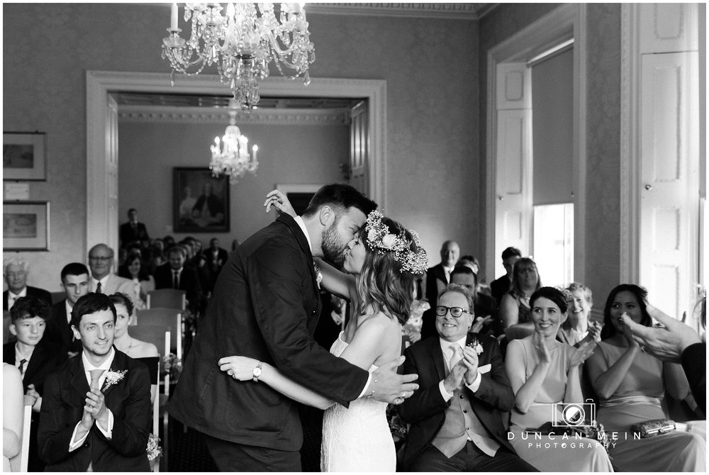 Wedding at Goldney Hall - Bride and Groom first kiss