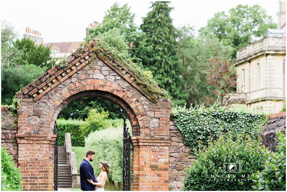 Wedding at Goldney Hall - Bride and Groom portrait in the grounds