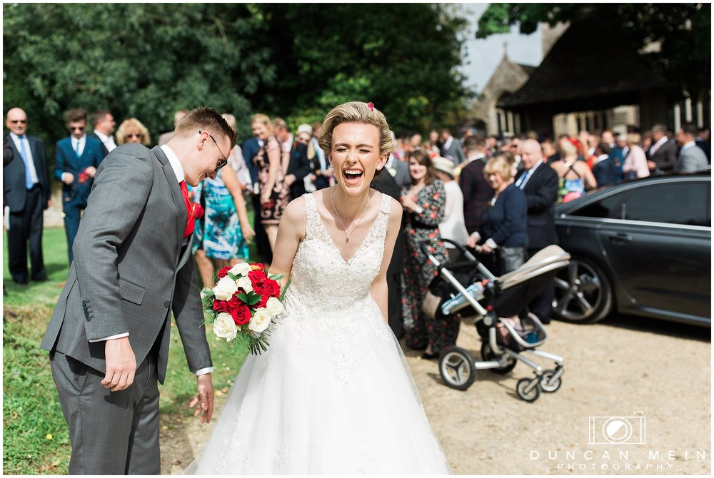 Wedding in Crudwell Village - Bride and Groom at the Church