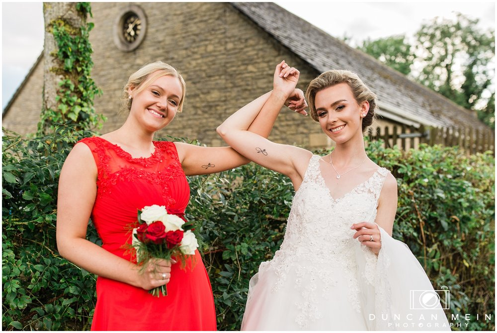 Wedding in Crudwell Village - Bride and Maid of Honour