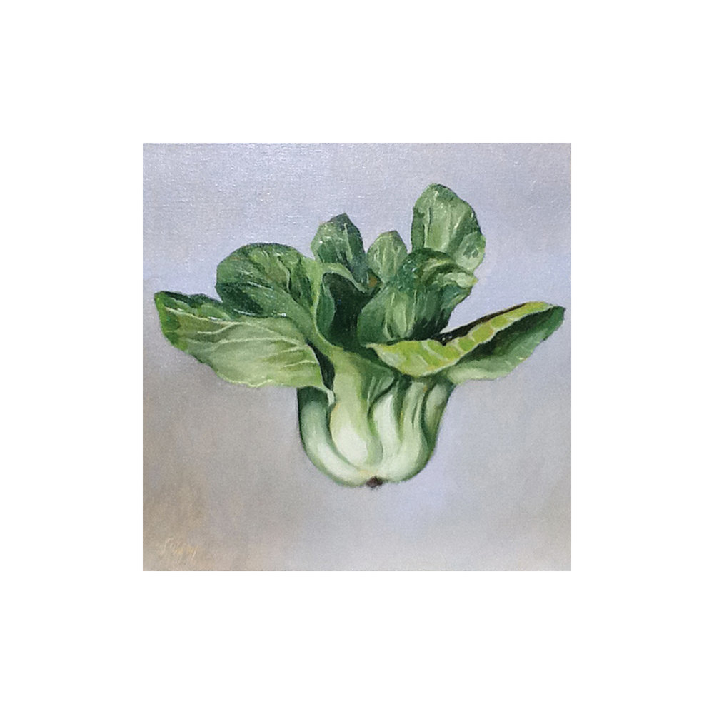 Floating Bok Choy , 2011, oil on canvas, 12 inches square, Private collection