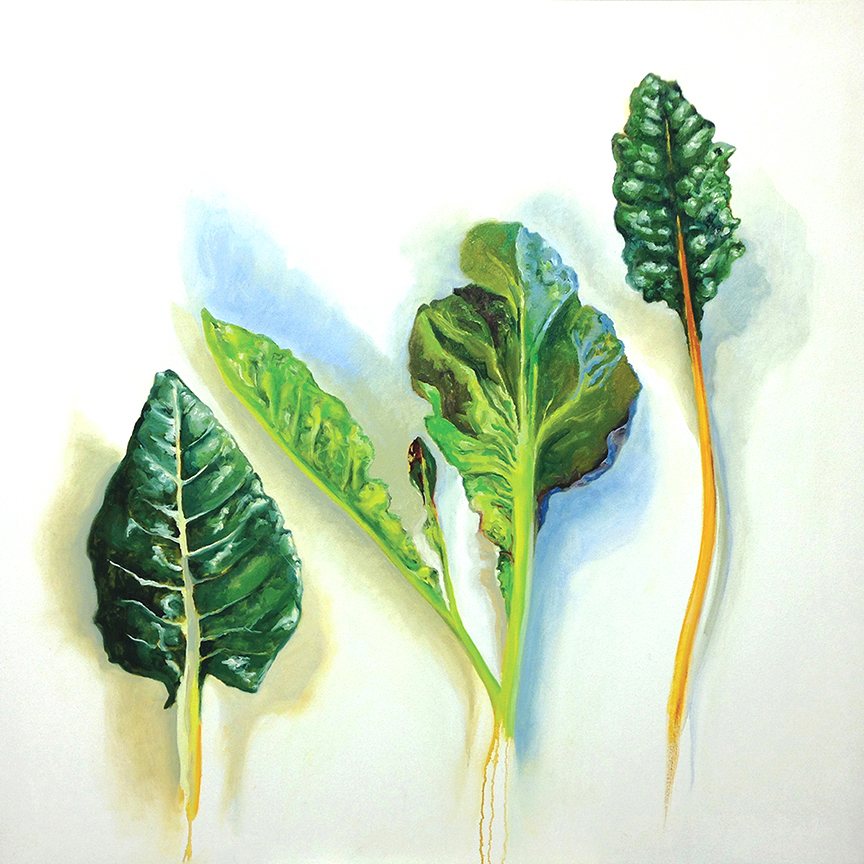 Three Greens, 2013, oil on canvas, 48 inches square, private collection