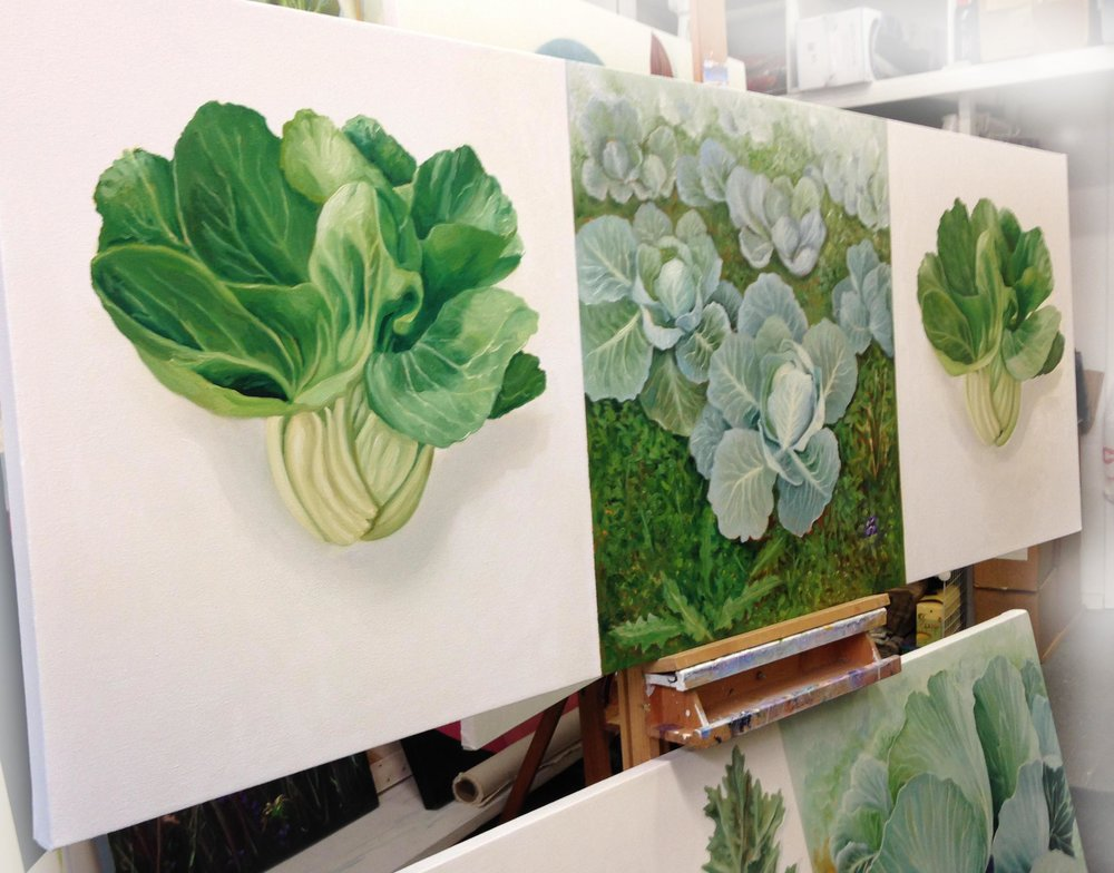 Studio view, Two Floating Bok Choys & Cabbage Patch , 2018, oil on ONE canvas, 28 x 80 inches