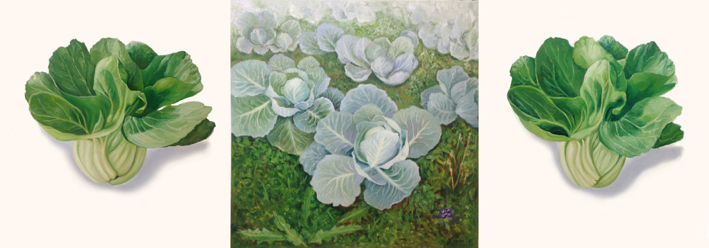 Two Floating Bok Choys & Cabbage Patch , 2018, oil on One canvas, 28 x 80 inches, Collection: Capital One, Delaware
