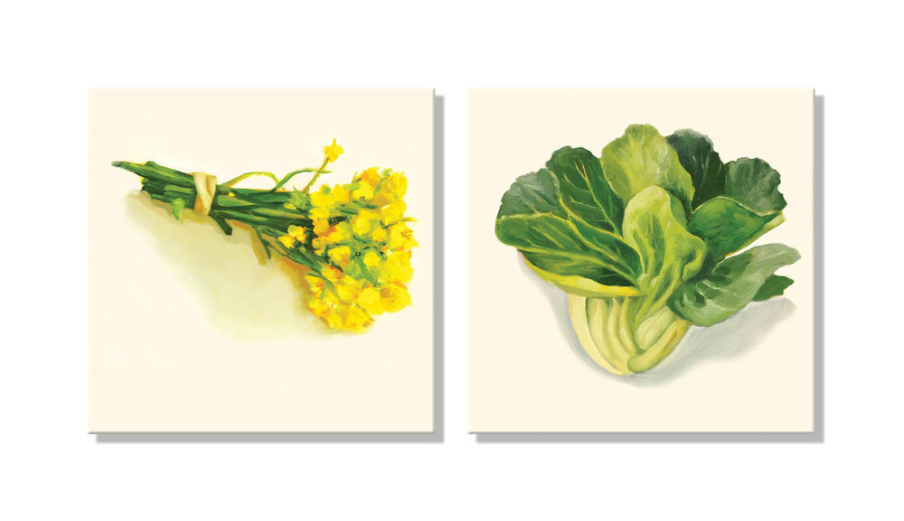 Edible Flowers of the Bok Choy ;  Floating Bok Choy , both oil on panel, 10 inches square each