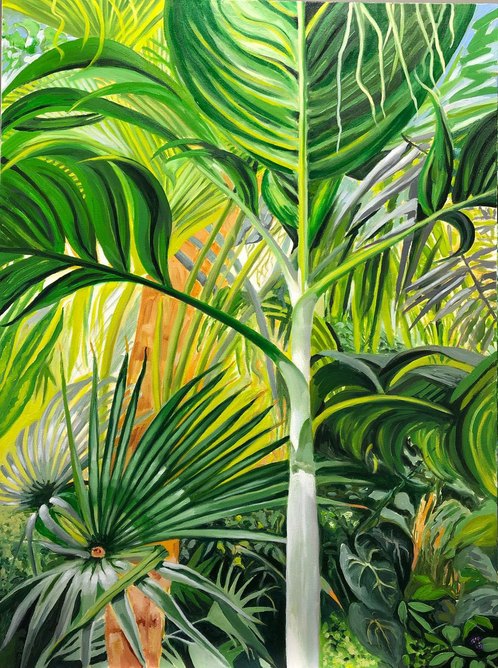 Bronx Palms, 2019, oil on canvas, 48 x 36 inches