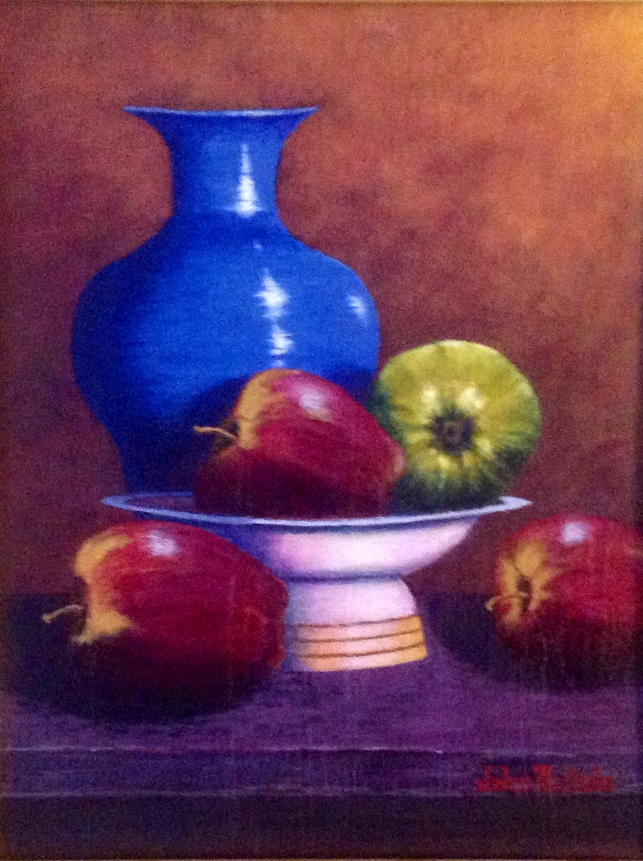 """Apples with Blue Vase"""