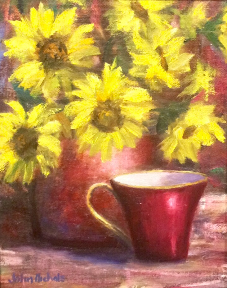 """Sunflowers and Red Cup"""