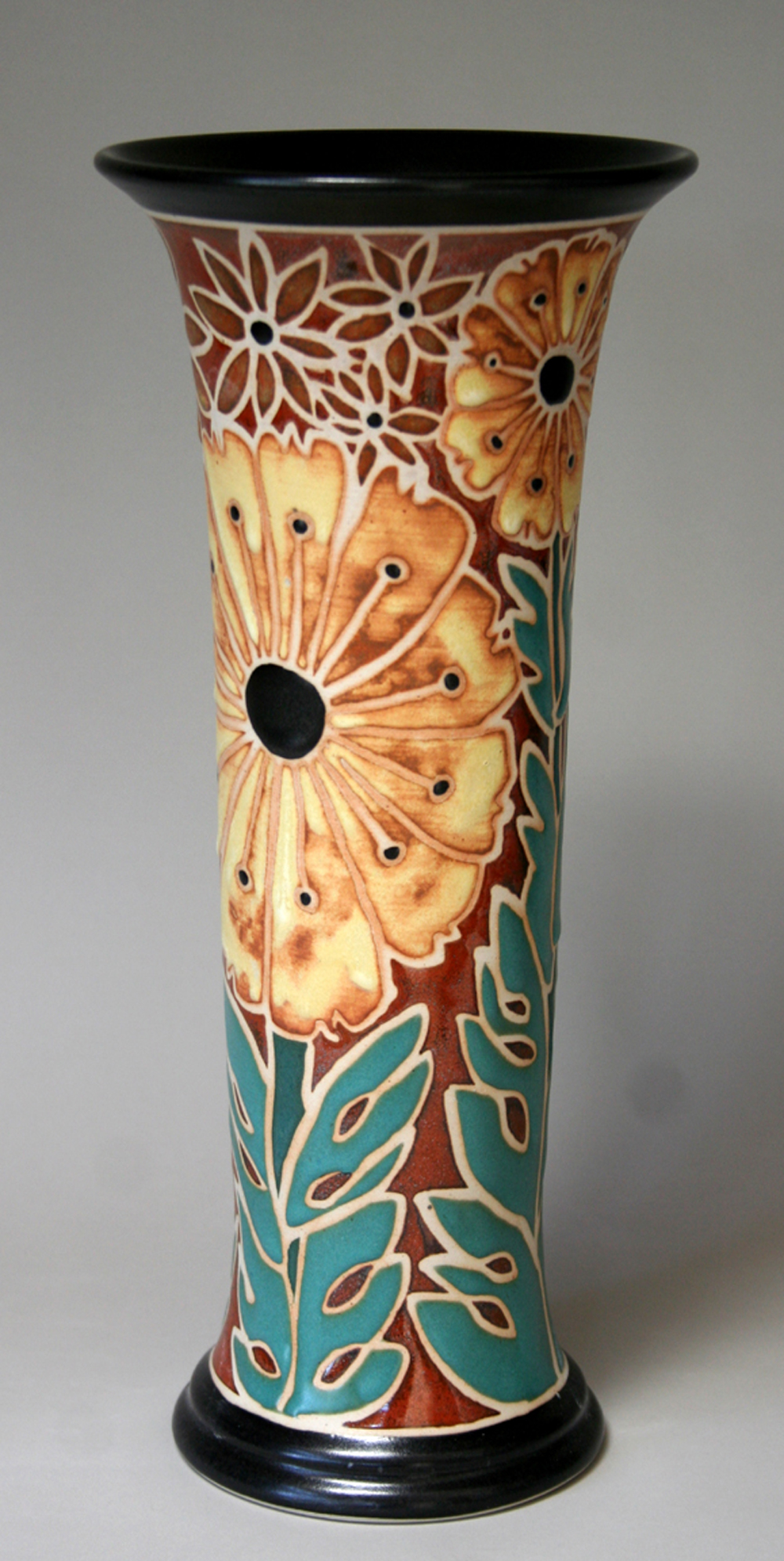 Yellow Flower Cylinder Vase