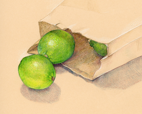 A bag of limes, colored pencil