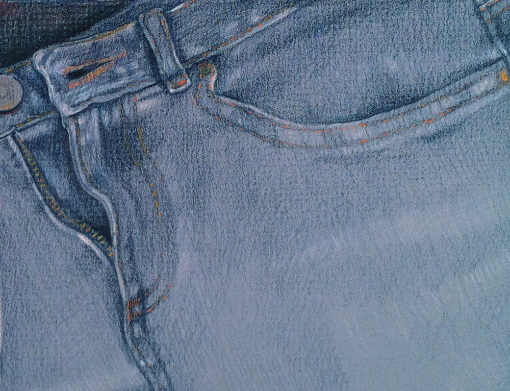 Blue jeans - colored pencil