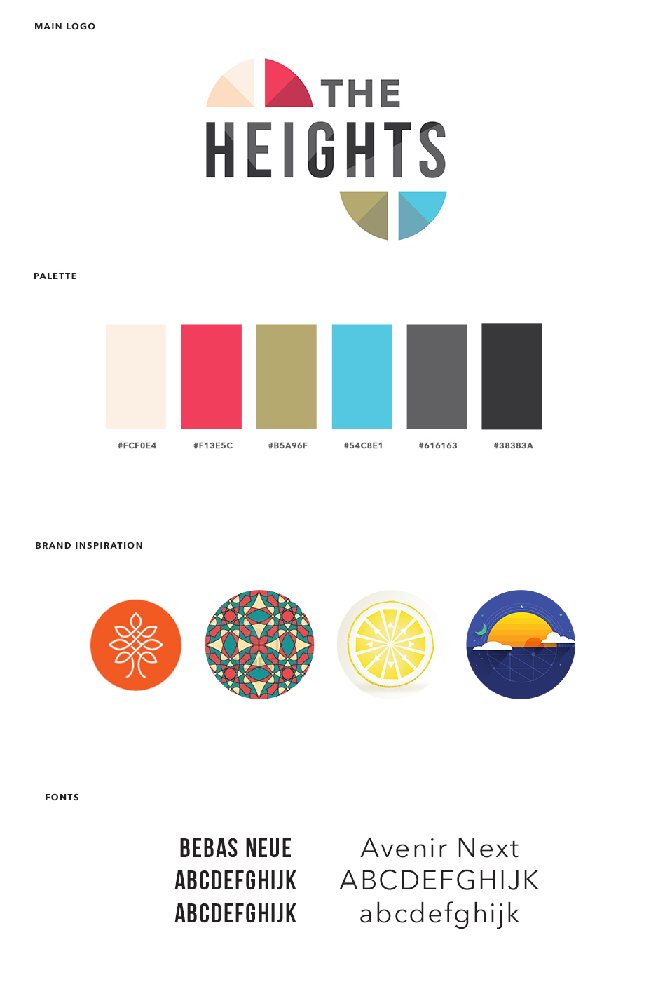 The Heights - Church Visual Brand and Logo Design - Brand Board