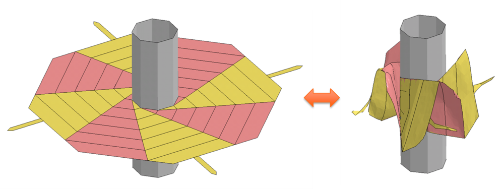 Above: Wrapping and unwrapping simulation of a thin-film sheet around an eight sided hub. The black lines represent creases that allow the film to fold. However, during folding the thin-film must also bend and buckle, which requires finite element analysis software to capture.