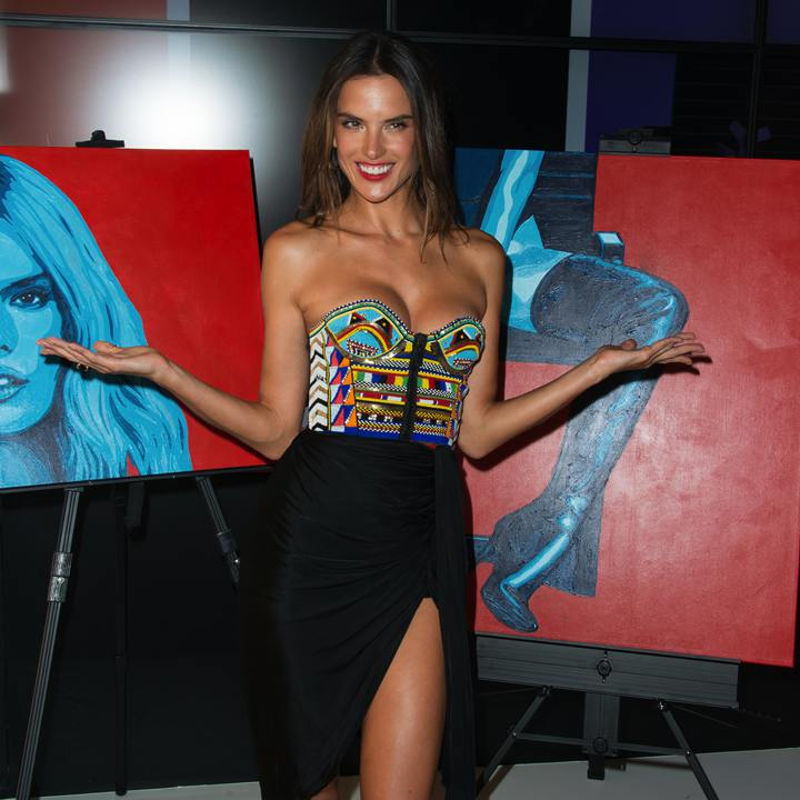 Alessandra Ambrosio with Jeremy Penn's paintings