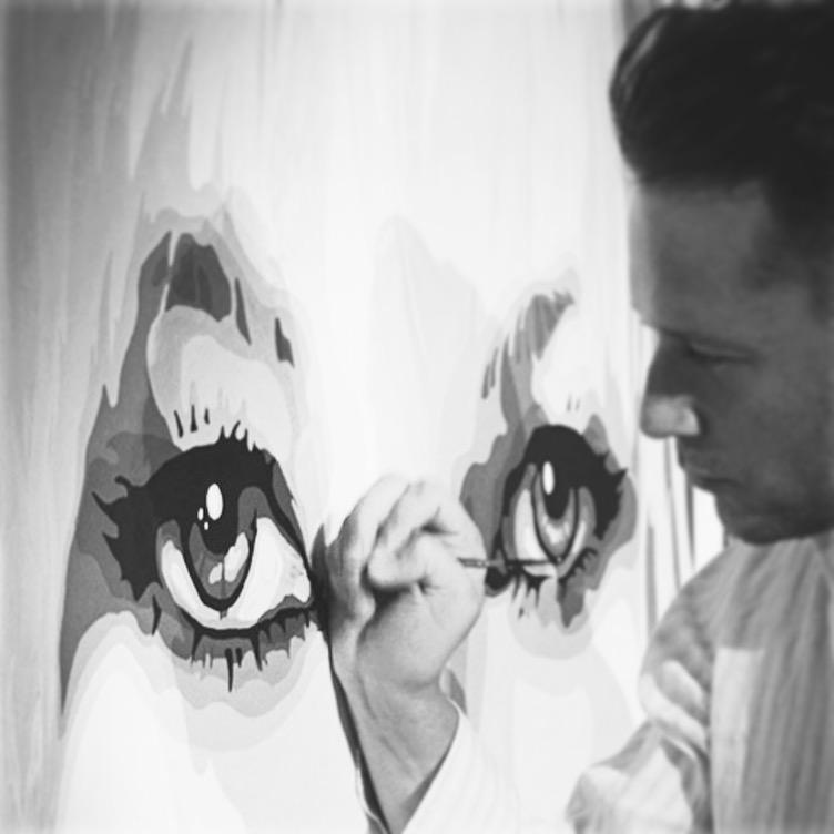 Jeremy Penn painting Kate Moss