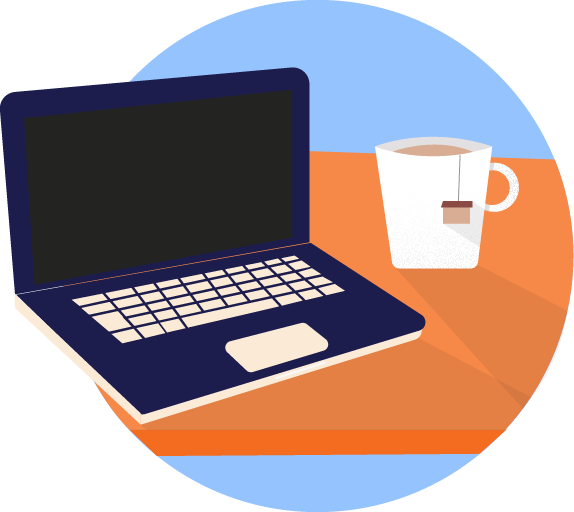 Computer & tea icon