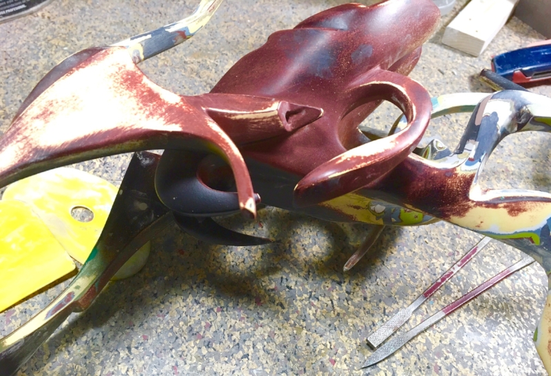 "RAPTOR, steel & resin sculpture (detail) by Dave Stevenson, on the ""operating table"" for repair at StudioDave after incurring catastrophic injuries."