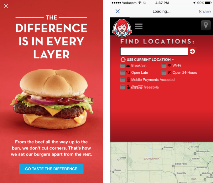Wendy's introducing locations finder, and immersive ads within Facebook.