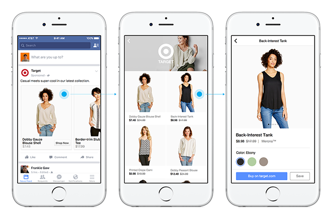 Target's ecommerce buyable ads in Facebook. You'll never have to leave until you're ready to buy.