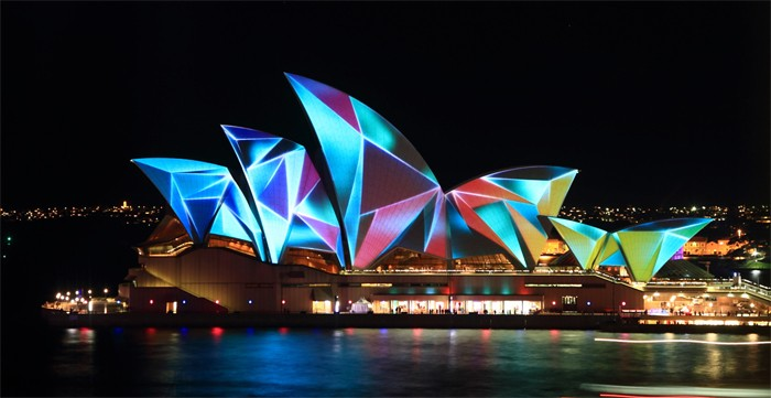The following is an image of the Sydney Concert Hall that  Obscura Digital  projected art on.  This was done around the world from NYC to the Vatican.