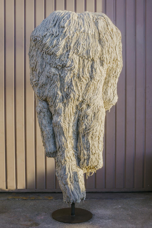 Evans Wittenberg, Overcombiner, 2015 cement, mops, steel, 90 x 40 x 36 inches
