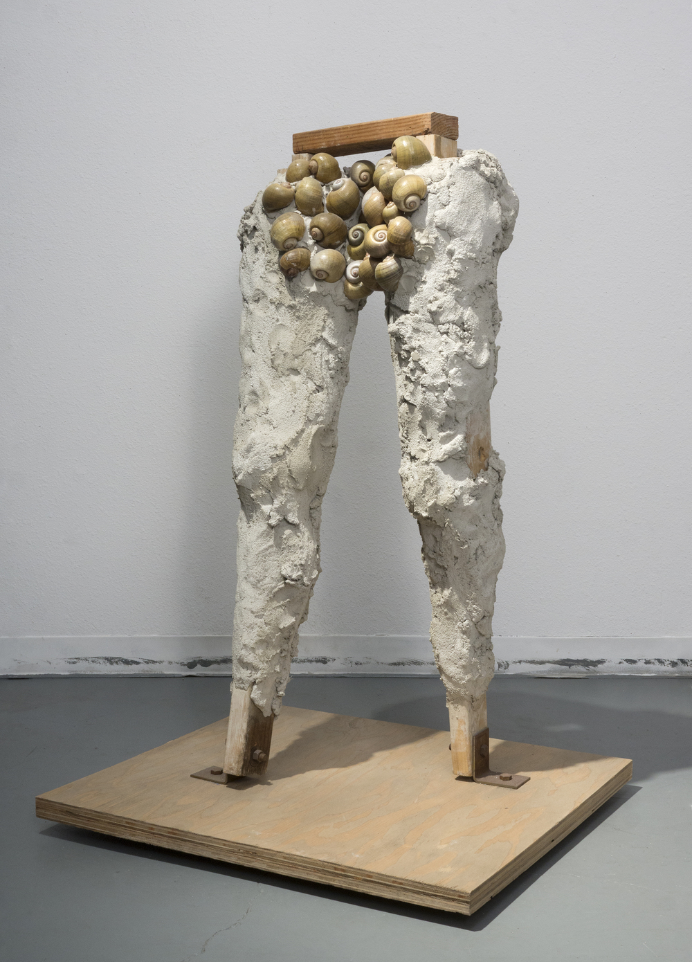 Evans Wittenberg, Untitled Figure with Snails, 2015 cement, wood, apple snail shells 46 x 28 x 28 inches