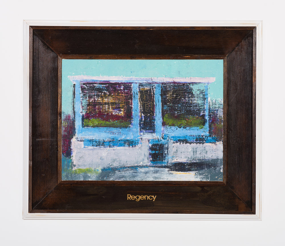 Enoc Perez and Carlos/Rolón Dzine, Camuy, Puerto Rico, 2015, Oil on canvas with customized reclaimed wood frame with metal, 18 x 24 inches (unframed)