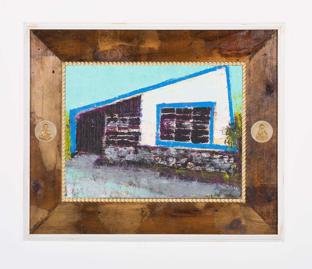 Enoc Perez and Carlos/Rolón Dzine, 410 Calle Apeninos, San Juan, PR 0092, 2016, Oil on canvas with customized reclaimed wood frame with metal, 18 x 24 inches (unframed)