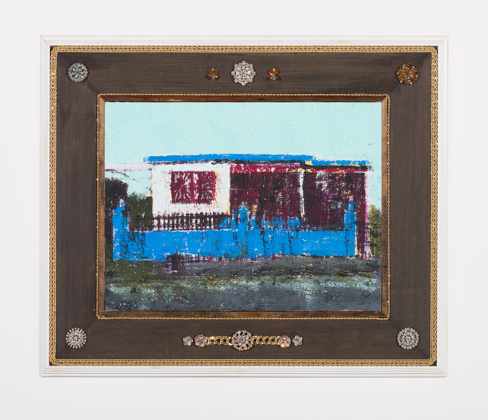 Enoc Perez and Carlos/Rolón Dzine, Mariolga Caguas, Puerto Rico, 2015, Oil on canvas with customized reclaimed wood frame with metal, 18 x 24 inches (unframed)