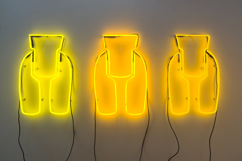 Allie Pohl, Ideal Woman: 3 Ft Neon, Monochromatic Yellows, 2013, Neon, one transformer, 36 x 21 inches. Photo: Ruben Diaz