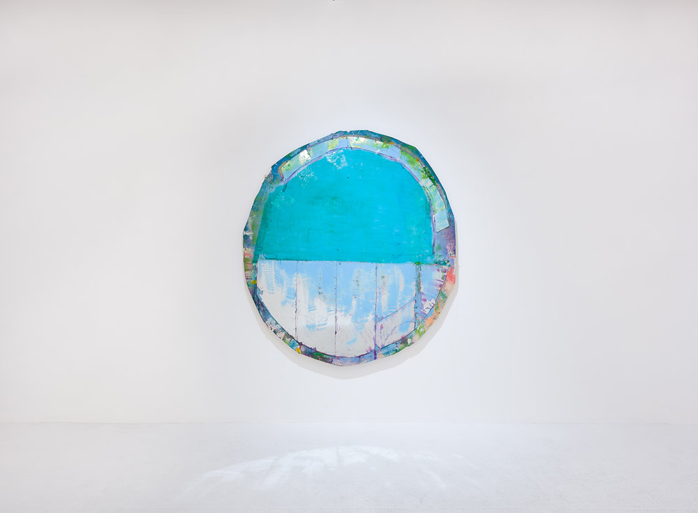 Daniel John Gadd, Rosemma, 2016, oil, mirrored glass, aluminum leaf and wax on wooden panel, 66 x 64 inches. Photo: Ruben Diaz