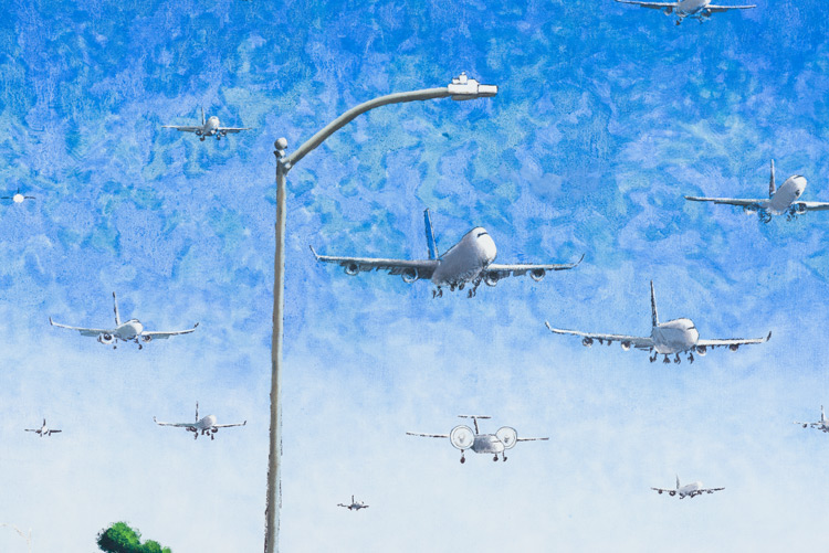 Cole Case,  Incoming LAX Traffic 9.2.16 , 2016, oil on canvas, 34 × 51 inches (detail)