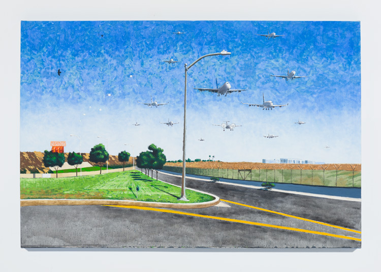Cole Case,  Incoming LAX Traffic 9.2.16 , 2016, oil on canvas, 34 × 51 inches