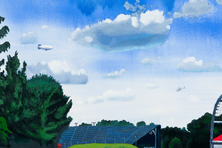 Cole Case,  Speedway Infield And Turn 3 Grandstands Looking Zero Degrees Due North 5.30.16 , 2016, oil on canvas, 37 × 74 inches (detail)