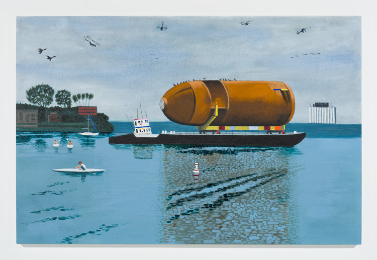 Cole Case,  Space Shuttle Fuel Tank ET94 in Marina Del Rey 5.18.16 , 2016, oil on canvas, 35 × 53 inches