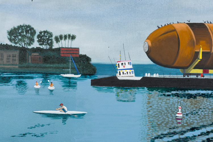 Cole Case,  Space Shuttle Fuel Tank ET94 in Marina Del Rey 5.18.16 , 2016, oil on canvas, 35 × 53 inches (detail)