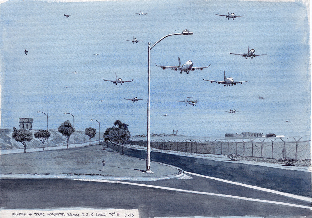 Cole Case,  Incoming LAX Traffic 9.2.16 Looking 75 Degrees East,  2016, ink and gouache on paper, 9 × 13 inches