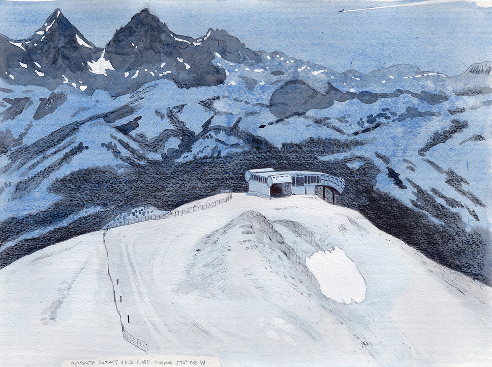 Cole Case,  Mammoth Summit 8.11.16 Looking 270 Degrees Due West 11.053 Feet , 2016, ink and gouache on paper, 11 × 15 inches