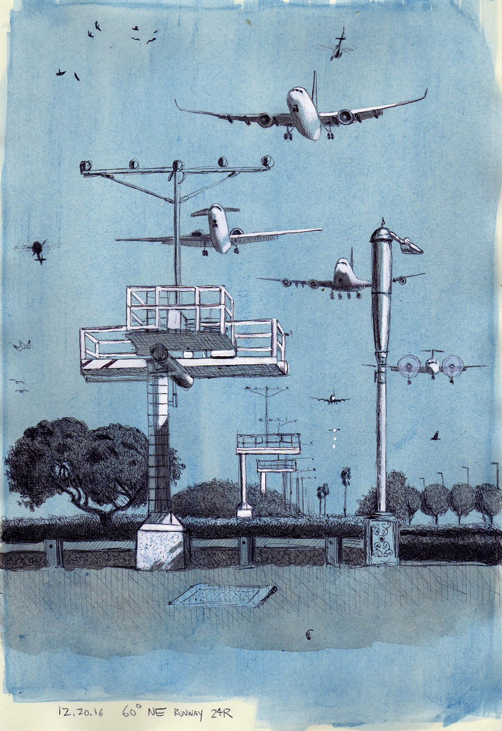 Cole Case,  Runway 24R Incoming Looking 60 Degrees NE 12.20.16 , 2016, ink and gouache on paper, 11.5 × 8 inches