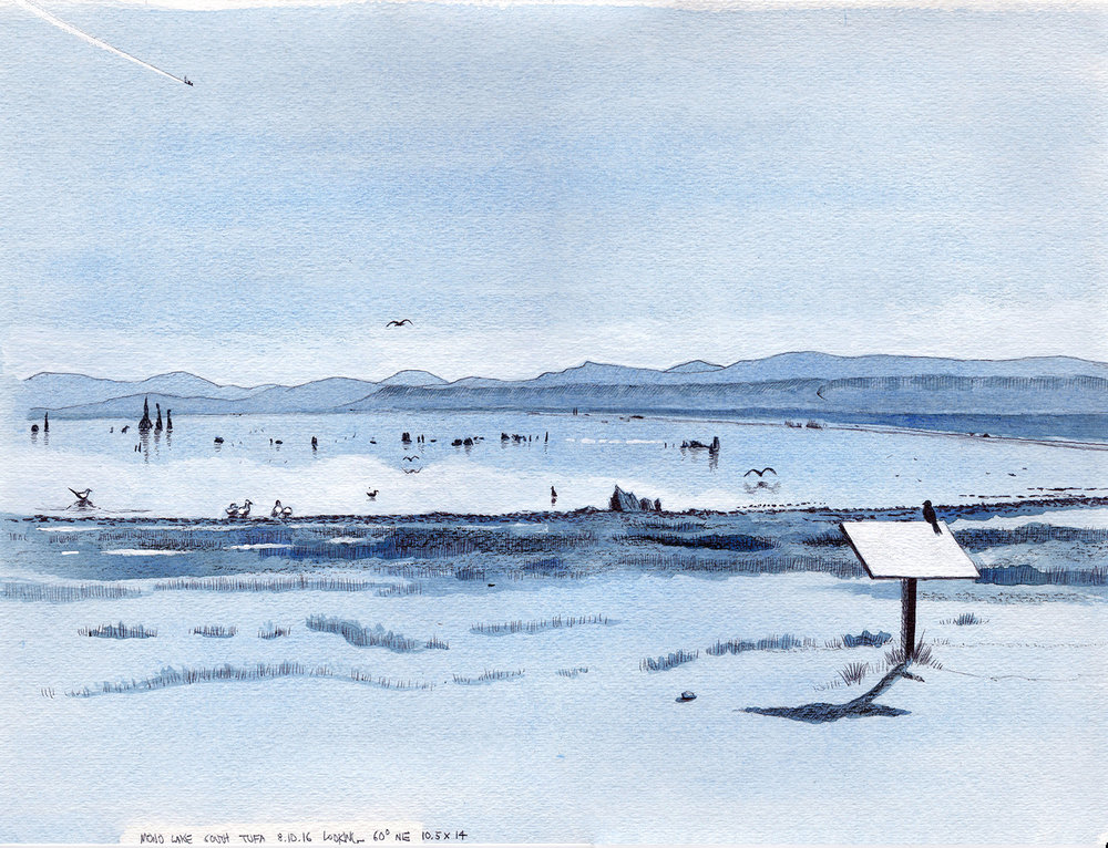 Cole Case,  Mono Lake South Tufa 8.10.16, Looking 60 Degrees NE , 2016, ink and gouache on paper, 10.5 × 14 inches