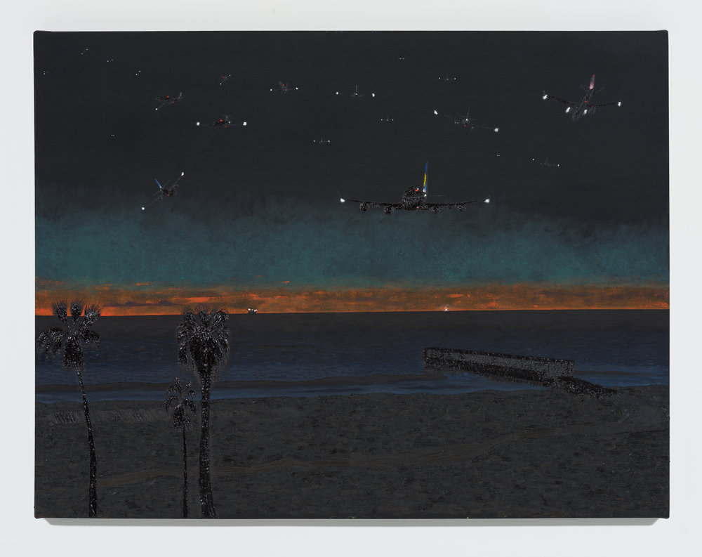 Cole Case, Nocturnal Airplanes, 2017, oil on canvas, 35 x 51 inches