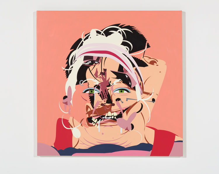 Chris Finley,  Drool, Snatch, Clean & Jerk #1 , 2017, sign enamel on canvas over panel, 39 x 39 inches. Photo: Ruben Diaz