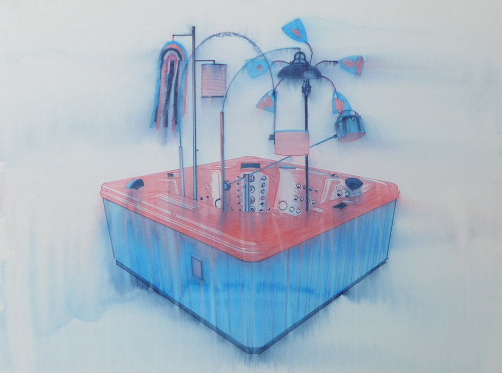 Chris Finley,  Lamp Hot Tub , 2016, watercolor on paper, 22 x 30 inches