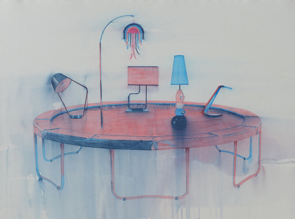 Chris Finley,  Lamp Trampoline 1,  watercolor on paper, 22 x 30 inches