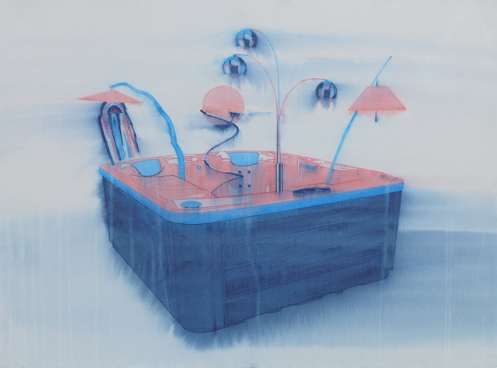 Chris Finley,  Lamp Hot Tub 3 , 2016, watercolor on paper, 22 x 30 inches